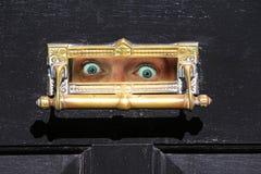 Auch erschrocken, um die Tür zu öffnen! lizenzfreies stockbild