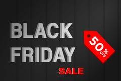 Auch im corel abgehobenen Betrag Black Friday-Verkaufsfahne mit Preisrabatt- und -holzbeschaffenheitshintergrund lizenzfreie abbildung