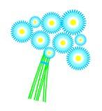 Auch im corel abgehobenen Betrag Blaue Gänseblümchen des Blumenstraußes Stockfoto