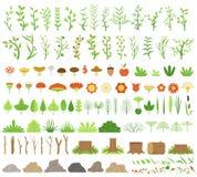 Auch im corel abgehobenen Betrag Botanische Sammlung Niederlassungen, Stümpfe, Blumen, Kräuter und andere natürliche Elemente lizenzfreie abbildung