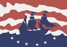 Auch im corel abgehobenen Betrag Columbus Day Schattenbild eines Schiffs in Meer Lizenzfreie Stockfotografie