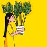 Auch im corel abgehobenen Betrag Das Mädchen trägt eine Blume in einem Topf stock abbildung