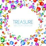 Auch im corel abgehobenen Betrag Fallende Mehrfarbenedelsteine Schatz-Design Abstrakter Luxus-und Spiel-Hintergrund Stockfotos
