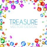 Auch im corel abgehobenen Betrag Fallende Mehrfarbenedelsteine Schatz-Design Abstrakter Luxus-und Spiel-Hintergrund Stockfoto