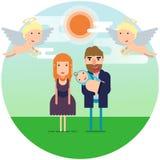 Auch im corel abgehobenen Betrag Glückliche Eltern mit einem neugeborenen Kind unter dem Himmel mit Engeln lizenzfreie abbildung