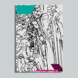 Auch im corel abgehobenen Betrag heilige Geometrie des Roboters F?r T-Shirt Entwurf Plakat, Aufkleber Linie Art - Datei des Vekto lizenzfreie abbildung