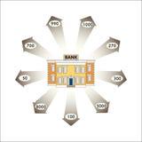 Auch im corel abgehobenen Betrag Kommerzielle Grafiken Infographics: Darlehen von Kreditinstituten als Bargeldumlauf Stockbilder