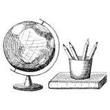 Auch im corel abgehobenen Betrag Kugel, Buch, zeichnet von Hand gezeichnete Schwarzweiss-Skizze an Linie Kunst lizenzfreie abbildung
