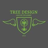 Auch im corel abgehobenen Betrag Monolinie Logodesign Baum, Schild und Flügel Lizenzfreie Stockbilder