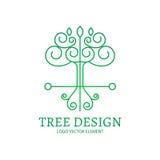 Auch im corel abgehobenen Betrag Monolinie Logodesign Baum, Schild und Flügel Lizenzfreies Stockfoto