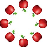 Auch im corel abgehobenen Betrag Muster des realistischen roten Apfels auf weißer Hintergrund Dekoration fahne Verzierung vektor abbildung