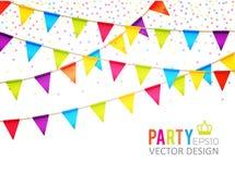 Auch im corel abgehobenen Betrag Partei-Flaggen-Design mit Konfettis Feiertagsschablone Stockfoto