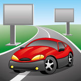 Auch im corel abgehobenen Betrag Rotes Auto Stockfotos