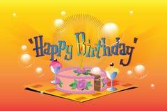 Auch im corel abgehobenen Betrag Schablonengeburtstagsgrüße Kuchen, Eiscreme und eine Kerze Stockfotografie