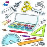 Auch im corel abgehobenen Betrag Stellen Sie für Studie, Farbe und Bürste, ein Kompass, Scheren und ein Bleistift ein Stockfotos