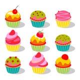 Auch im corel abgehobenen Betrag Stellen Sie von den netten köstlichen kleinen Kuchen und von den Muffins ein vektor abbildung