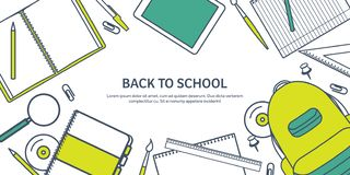 Auch im corel abgehobenen Betrag Studie und Bildung Gezeichnete flache Art Wissen, Informationen Schullernprozeß Online stock abbildung