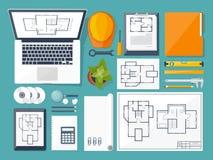 Auch im corel abgehobenen Betrag Technik und Architektur Zeichnung, Bau /Planen Gebäudemodell und Entwurfswerkzeuge auf Bau Desig Stockfotos