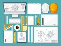 Auch im corel abgehobenen Betrag Technik und Architektur Zeichnung, Bau /Planen Gebäudemodell und Entwurfswerkzeuge auf Bau Desig Lizenzfreies Stockfoto