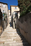 Auch, pousterle. Pousterle in Auch ( Gascony). It is a narrow medieval alley, in the abrupt staircases, connecting the low city with the high city. It allowed royalty free stock photography