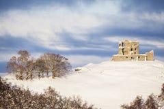 Auchindoun Castle ruins in Scotland. Winter view of Auchindoun Castle ruins in Moray, Scotland Stock Images