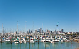 Auckland 7  Copy Space. WS: Westhaven Marina with Auckland City Skyline. Host city of Rugby World Cup 2011 Big sky copyspace Stock Photos
