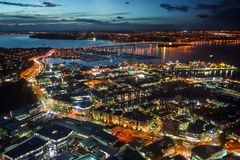Auckland aerial night view, New Zealand Royalty Free Stock Photo