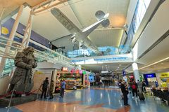 Auckland International Airport, New Zealand. International terminal. Auckland Airport is the largest and busiest in New Zealand. Seen here is the interior of the royalty free stock images