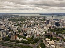 Auckland CBD Aerial View. Auckland, New Zealand aerial view of the city, cbd and highways leading out of the city Stock Image