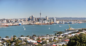 Auckland City & Devonport Panorama, New Zealand. Panoramic view of the suburb of Devonport in the foreground and the Auckland Central Business District and Port Stock Image