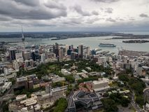 Auckland City And Harbor Aerial View. Auckland, New Zealand aerial view of the city, cbd and highways leading out of the city Stock Photos
