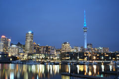 Auckland City at night. Cityscape from Viaduct - Auckland, New Zealand Royalty Free Stock Image