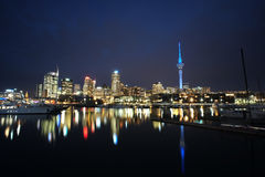 Auckland City at night. Cityscape from Viaduct - Auckland, New Zealand Royalty Free Stock Photos