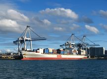 Auckland City Port Waterfront. Auckland City port with a ship being loaded in dock Stock Photography