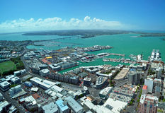 Auckland - City Of Sails Panorama, New Zealand. Panoramic aerial view of Auckland City &  Waitemata Harbour looking northwest to the  iconic Auckland Harbour Royalty Free Stock Photos