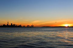Silhouette of Auckland city in dusk stock photography