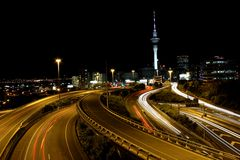 Auckland city sky tower with long exposure light trails royalty free stock photo