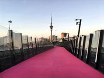 Auckland city skyline from Nelson Street Cycleway. It is a shared pathway for walking and cycling in Auckland, New Zealand Royalty Free Stock Photography