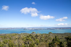 Auckland city skyline. Auckland, New Zealand - April 19, 2015: City skyline as seen from top of volcano Rangitoto Royalty Free Stock Photo