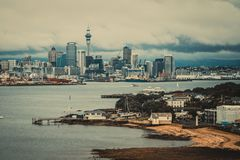 Auckland City Skyline, New Zealand Stock Photo