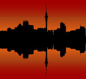 Auckland City Skyline at Sunset Stock Image