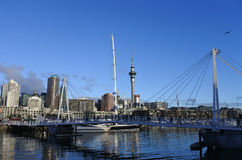 Auckland city skyline. From Viaduct Marina Royalty Free Stock Image