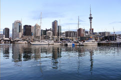 Auckland city skyline from Viaduct Marina. Auckland is the business capital and the biggest city in New Zealand and Oceania Stock Image
