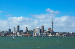 Auckland City View from Bayswater Wharf Auckland New Zealand. Also a Good Fishing Spot Royalty Free Stock Photo