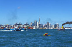Auckland City View from Devonport Wharf Auckland New Zealand Royalty Free Stock Images