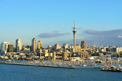 Auckland City and West Harbour marina as seen from Harbour Bridge. Selective focus stock photo