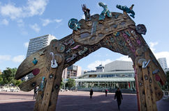 Auckland cityscape - Aotea Square. AUCKLAND - MAY 29:'Waharoa'(Gateway in Maori)arch in Aotea Square on May 29 2013. This is an expressionist version of a Royalty Free Stock Photography