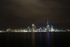 Auckland cityscape. At night, long exposure Royalty Free Stock Image