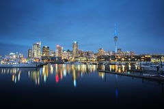 Auckland cityscape at night. Long exposure and selective focus at building Stock Image