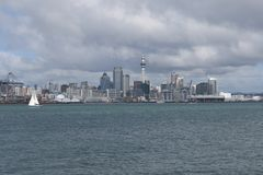 Coming into Auckland by boat. New Zealand royalty free stock image